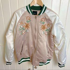 Forever 21 Embroidered Satin Bomber Jacket